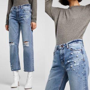 Zara Pearl Bead Distressed Blue Straight Leg Jean